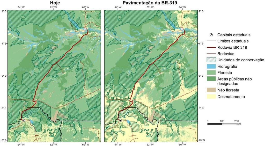Alcance do desmatamento em 2050 decorrente do asfaltamento da BR-319