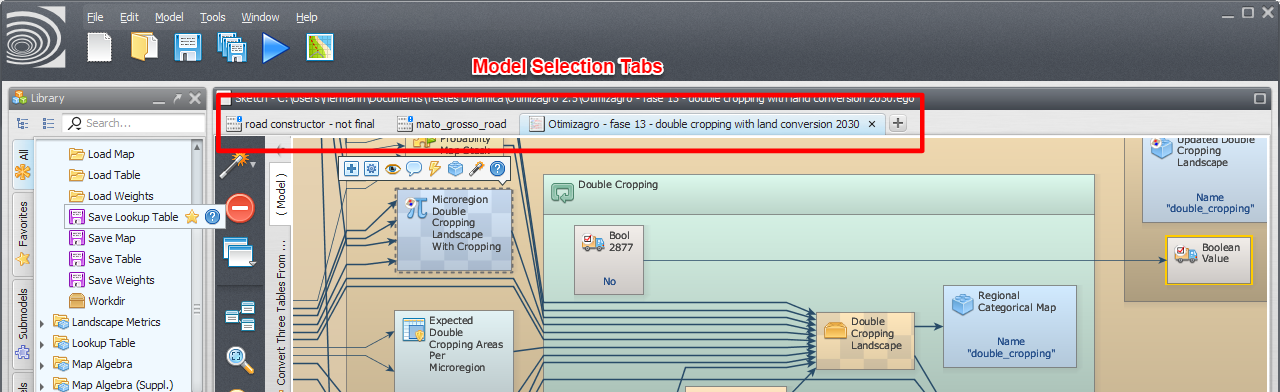 Model Selection Tabs